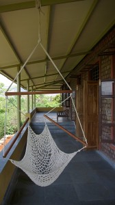 View of the verandah which overlooks the river