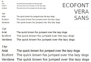 Compariing Ecofont with Arial and Verdana