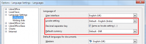 OpenOffice Language Settings