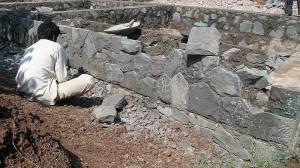 Plinth wall in local stone