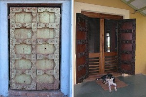 the front door before and after it was polished